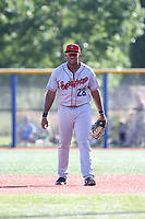 Curtis Terry (28) of the Spokane Indians in the field at first base during a game against the Hillsboro Hops at Ron Tonkin Field on July 22, 2017 in Hillsboro, Oregon. Spokane defeated Hillsboro, 11-4. (Larry Goren/Four Seam Images)