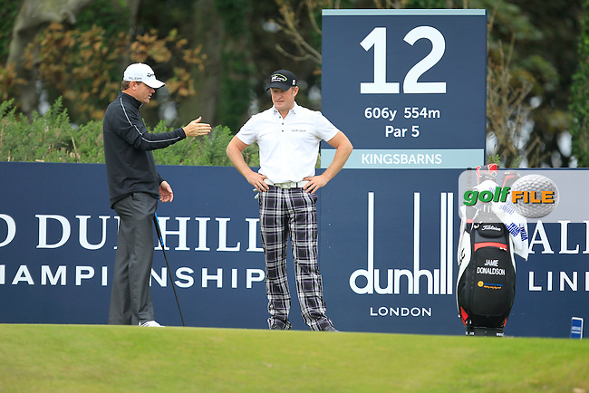 Shaun Micheel (USA) and Jamie Donaldson (WAL) during Round 2 of the Alfred Dunhill Links Championship at Kingsbarns Golf Club on Friday 27th September 2013.<br /> Picture:  Thos Caffrey / www.golffile.ie