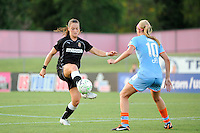 Brittany Bock (21) of the Western New York Flash plays the ball. The Western New York Flash defeated Sky Blue FC 4-1 during a Women's Professional Soccer (WPS) match at Yurcak Field in Piscataway, NJ, on July 30, 2011.