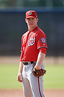 Washington Nationals pitcher Kyle Johnston (40) doing pitching drills before a Minor League Spring Training game against the Miami Marlins on March 28, 2018 at FITTEAM Ballpark of the Palm Beaches in West Palm Beach, Florida.  (Mike Janes/Four Seam Images)