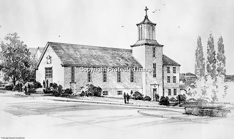 Pittsburgh PA:  View of a rendering for the new Haven Heights Methodist Church in the Mt Washington section of Pittsburgh at Virginia Avenue and Bigham Road - 1958.