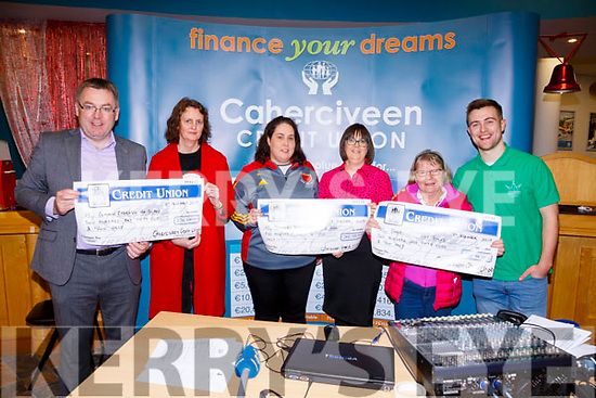 Cahersiveen Credit Union presenting cheques to the winners of their €1,000 Community Draw on Friday, pictured l-r; Michael O'Connell(Chairman), Madge Murphy(Conann Cabhrach na Sean €250), Deirdre Lyne(Valentia Young Islanders €500), Elam Shine(Manager CCU), Mary O'Shea(Cahersiveen Tidy Towns €250) & Brendan Fuller.