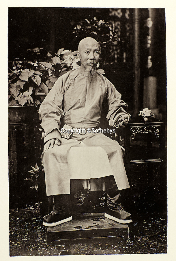 BNPS.co.uk (01202 558833)<br /> Pic: Sothebys/BNPS<br /> <br /> The Viceroy of Canton  Jui-Lin - at the time Thomson was in China Canton was the main port for trade with the West.<br /> <br /> Rare early photographs revealing what life in China looked like for the first time to the 19th century public have emerged 140 years after they were taken. <br /> <br /> The stunning collection - comprising 200 black and white photographs of Far East landscapes and wide-ranging personal portraits of everybody from rural peasants to senior government officials - was the first volume of photos from the region to ever be included in a travel book. <br /> <br /> Produced at a time when camera technology was still in its infancy, they were taken by celebrated Scottish photographer John Thomson between 1873 and 1874 during a 4,000-mile expedition across the country. <br /> <br /> And now one of the last remaining copies of the album still known to exist is set to go under the hammer at Sotheby's in London on November 7 with an estimate of £35,000.
