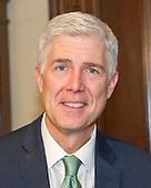 Judge Neil Gorsuch, United States President Donald J. Trump's nominee to be Associate Justice of the US Supreme Court to replace Justice Antonin Scalia, as he makes a courtesy call on US Senator Mark Warner (Democrat of Virginia) in the Senator's Capitol Hill office in Washington, DC on Tuesday, February 14, 2017.<br /> Credit: Ron Sachs / CNP