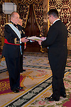 Presentation of credentials from Ambassadors to The King of Spain Juan Carlos I in the credentials room of the Royal Palace. In the picture Mr. Dilshod Khamidovich Akhatov,Ambassador of the Republic of Uzbekistan giving his credentials to to The King of Spain Juan Carlos I .June 21,2012. (ALTERPHOTOS/Ricky)