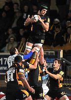 Rugby. High Wycombe, England. Tom Palmer of London Wasps wins the line out during the Amlin Challenge Cup match between London Wasps vs Bayonne at Adams Park on December 13, 2012 in High Wycombe, England.