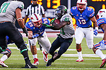 North Texas Mean Green running back Nic Smith (21) in action during the game between the North Texas Mean Green and the SMU Mustangs at the Gerald J. Ford Stadium in Fort Worth, Texas.
