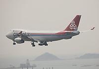 A Cargolux Italia Boeing 747-4R7(F) Registration LX-YCV landing on Runway 25R at Hong Kong Chek Lap Kok International Airport on 6.4.19 arriving from Osaka Kansai International Airport, Japan.