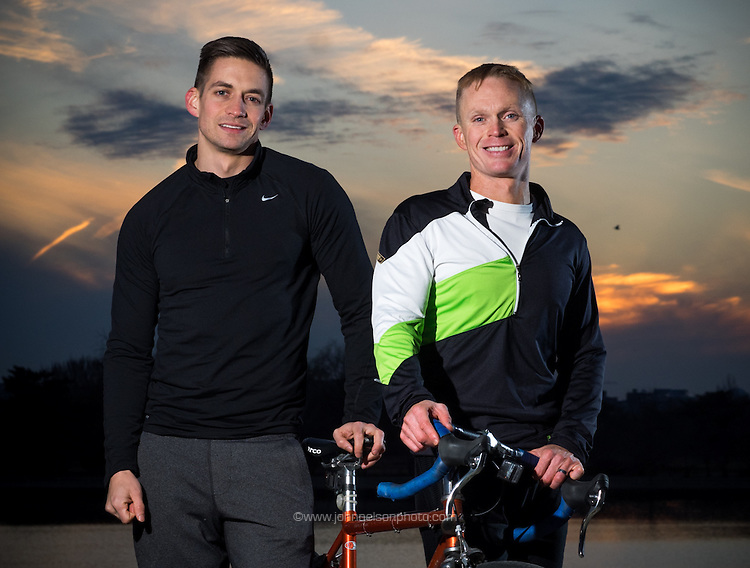 Ryan Stitt and husband Steve Lang pose for a portrait on the Waterfront in Washington DC where Stitt will open a new branch of his business, Kick Fitness.