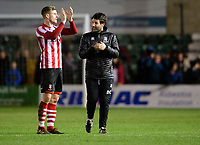 Lincoln City manager Danny Cowley, right, speaks to Lincoln City's Michael O'Connor at the end of the game<br /> <br /> Photographer Chris Vaughan/CameraSport<br /> <br /> The EFL Sky Bet League Two - Lincoln City v Port Vale - Tuesday 1st January 2019 - Sincil Bank - Lincoln<br /> <br /> World Copyright © 2019 CameraSport. All rights reserved. 43 Linden Ave. Countesthorpe. Leicester. England. LE8 5PG - Tel: +44 (0) 116 277 4147 - admin@camerasport.com - www.camerasport.com