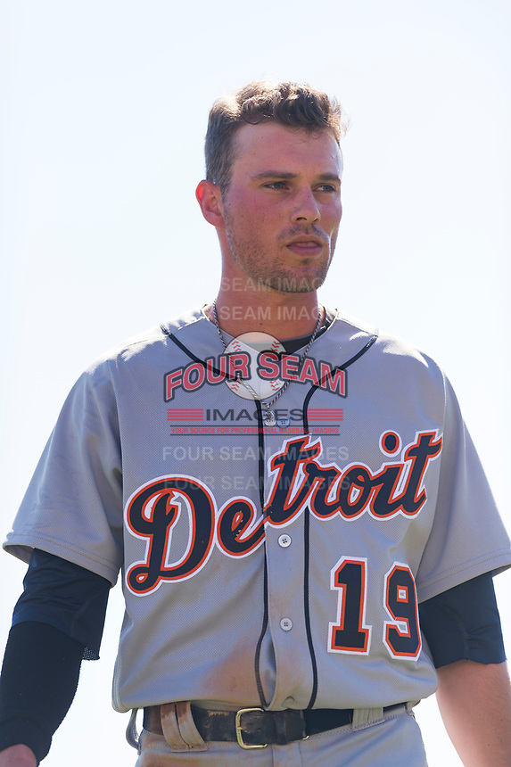Mesa Solar Sox left fielder Daniel Woodrow (19), of the Detroit Tigers organization, walks off the field between innings of an Arizona Fall League game against the Glendale Desert Dogs at Camelback Ranch on October 15, 2018 in Glendale, Arizona. Mesa defeated Glendale 8-0. (Zachary Lucy/Four Seam Images)