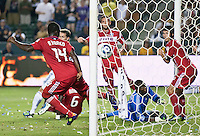 CARSON, CA – July 9, 2011: Chicago Fire goalie Sean Johnson (25) watch the ball go into the goal during the match between LA Galaxy and Chicago Fire at the Home Depot Center in Carson, California. Final score LA Galaxy 2, Chicago Fire FC 1.