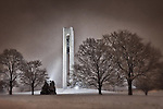 Carillon Bell Tower on snowy night, Dayton Ohio.