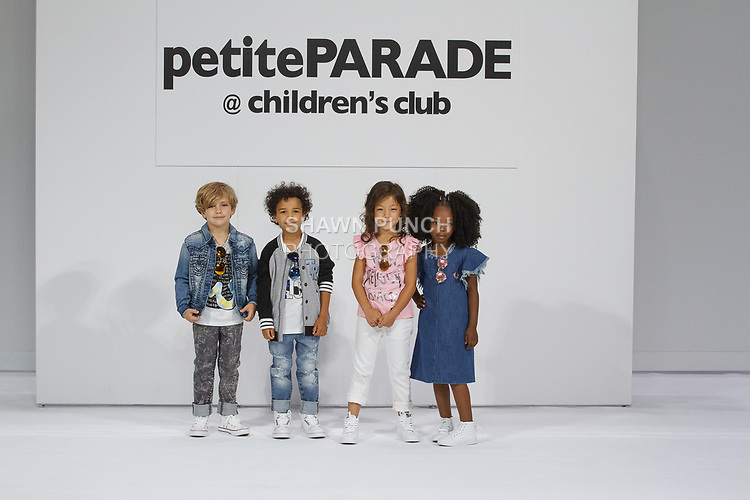 Child models pose on runway in outfits from the True Religion Kids collection, during petitePARADE Spring Summer 2018 with Children's Club, at the Javits Center on August 6, 2017.