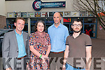 Film makers Hugh O'Donoghue, Maria McCarthy, Brian Bowler and Aodhagan O'Riordan at the short film evening in the Killarney cinema last Monday night.