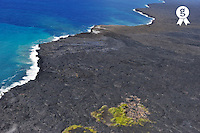 Lava fields and pacific ocean, aerial view, Kilauea Volcano, Big Island, Usa (Licence this image exclusively with Getty: http://www.gettyimages.com/detail/85985777 )