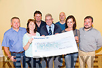 The kielduff community  presented a cheque for  €2.267 to Kerry Hospice, the proceeds of 2 nights of entrainment at the Kieldduff Community centre on Thursday night, Pictured  John Brosnan, Nora Kerin, Maurice O'Connell, Ted Moynihan, Kerry Hospice, Liam McCarthy, Moira Leane and Tom O'Sullivan