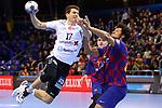 VELUX EHF 2019/20 EHF Men's Champions League Group Phase - Round 8.<br /> FC Barcelona vs Aalborg Handbold: 44-35.<br /> Tobias Hansesgaard Ellebaek vs Thiagus Petrus.