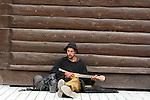 Dawson City, Street musician,THE YUKON TERRITORY, CANADA