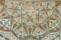 Islamic honeycomb design of Ganesh Pol, Ganesh Gate, at The Amber Fort a Rajput fort 16th Century in Jaipur, Rajasthan, India