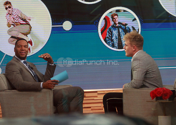 NEW YORK, NY March 15, 2018:  Michael Strahan interview Logan Paul at Good Morning America  the YouTube Channel star with 15 million followers recently  know for sharing video of a dead body hanging in a Aokigahara forest in Japan know as the suicide forest  in New York. March 15, 2018 Credit:RW/MediaPunch