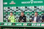 13.04.2018, Weserstadion, Bremen, GER, 1.FBL, Pressekonferenz Werder Bremen, <br /> <br /> im Bild<br /> &Uuml;bersicht, Marco Friedl (Werder Bremen #32), Florian Kohfeldt (Trainer SV Werder Bremen), Frank Baumann (Gesch&auml;ftsf&uuml;hrer Fu&szlig;ball Werder Bremen), <br /> <br /> Foto &copy; nordphoto / Ewert