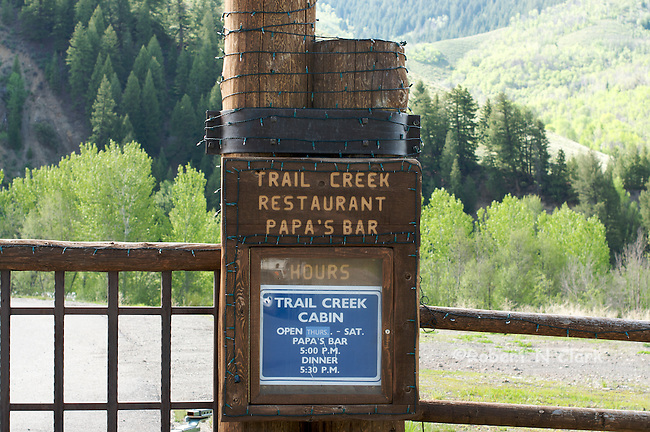 Entrance to Trail Creek Cabin, a popular dining spot for Sun Valley visitors.  This was a favorite hangout of Ernest Hemingway's when he lived in Ketchum