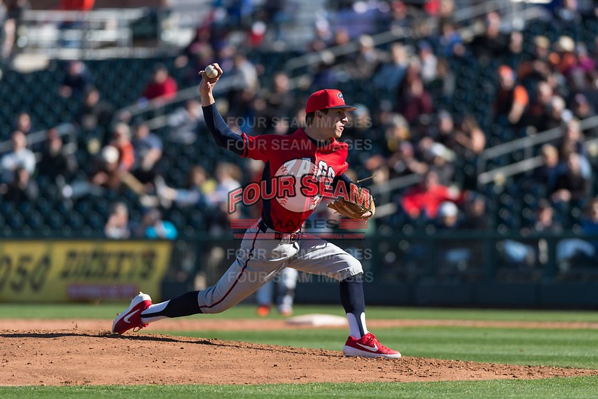 Gonzaga Bulldogs starting pitcher Alek Jacob (37) delivers a pitch during a game against the Oregon State Beavers on February 16, 2019 at Surprise Stadium in Surprise, Oregon State defeated Gonzaga 9-3. (Zachary Lucy/Four Seam Images)