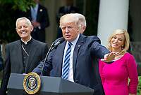 United States President Donald J. Trump makes remarks prior to signing a Proclamation designating May 4, 2017 as a National Day of Prayer and an Executive Order &quot;Promoting Free Speech and Religious Liberty&quot; in the Rose Garden of the White House in Washington, DC on Thursday, May 4, 2017. <br /> Credit: Ron Sachs / CNP /MediaPunch