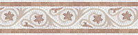 "10 1/4"" Countess border, a hand-cut stone mosaic, shown in polished Thassos, with honed New Kendra and Saint Richard."