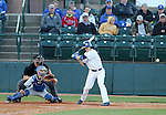 SIOUX FALLS, SD - MAY 20: Paul Jacobson #23 from South Dakota State watches the ball to drive a base hit against IPFW in the fourth inning Wednesday night at the Sioux Falls Stadium during the Summit League Baseball Tournament. (Photo by Dave Eggen/Inertia)