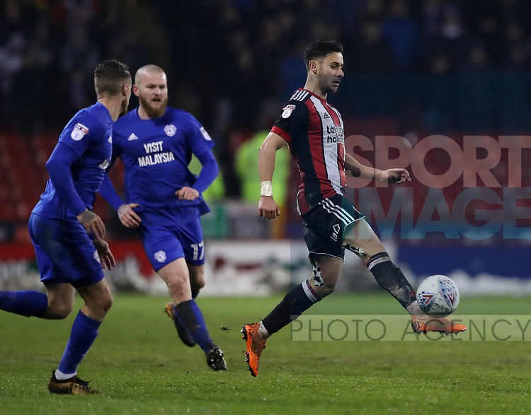 George Baldock of Sheffield Utd during the Championship match at Bramall Lane Stadium, Sheffield. Picture date 02nd April, 2018. Picture credit should read: Simon Bellis/Sportimage