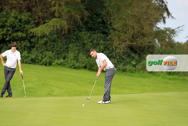 Val Carey (Waterford) on the 5th green during the AIG Jimmy Bruen Shield Final between Lisselan &amp; Waterford in the AIG Cups &amp; Shields at Carton House on Saturday 20th September 2014.<br /> Picture:  Thos Caffrey / www.golffile.ie