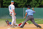 WATERBURY,  CT-072719JS37-- Cyclones Ponce's Abiam Alverez (9) is called out, after getting tagged by D-Bat's Evan Lewis (14) trying to reach third base, during their Mickey Mantle World Series game Saturday at Municipal Stadium in Waterbury.  <br /> Jim Shannon Republican-American