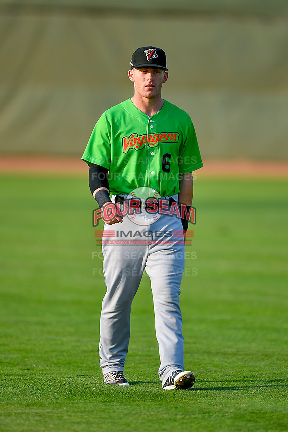 Max Dutto (6) of the Great Falls Voyagers walks onto the field before the game against the Ogden Raptors in Pioneer League action at Lindquist Field on August 18, 2016 in Ogden, Utah. Ogden defeated Great Falls 10-6. (Stephen Smith/Four Seam Images)
