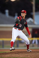 Batavia Muckdogs relief pitcher Justin Langley (55) during a game against the West Virginia Black Bears on June 29, 2016 at Dwyer Stadium in Batavia, New York.  West Virginia defeated Batavia 9-4.  (Mike Janes/Four Seam Images)