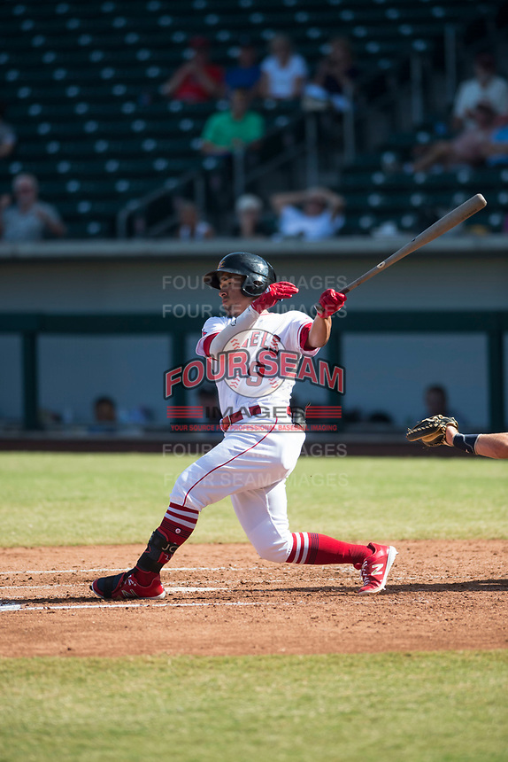 Mesa Solar Sox second baseman Jahmai Jones (9), of the Los Angeles Angels organization, follows through on his swing during an Arizona Fall League game against the Peoria Javelinas at Sloan Park on October 24, 2018 in Mesa, Arizona. Mesa defeated Peoria 4-3. (Zachary Lucy/Four Seam Images)