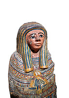 Ancient Egyptian Cartonnage funerary mask from the Third Intermediate Period, 22nd Dynasty (944-1025BC).  Egyptian Museum, Turin. white background<br /> Made from overlapping papyrus and cloth this cartonnage has been decorated with a weskh collar over which are depicted two crossed cloth strips that represent the last bandages of the deceased mummy wrappings. below this is depicted the rams head of god Amon-Ra against the out stretched wings of a vulture