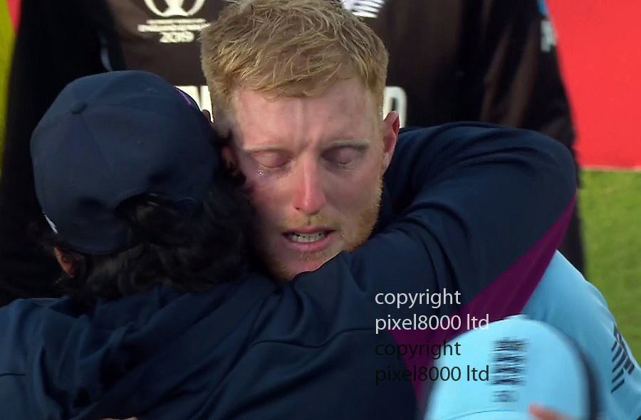 Pic shows: Eng v NZ Cricket final<br /> Stokes tears after win<br /> <br /> Guptill	run out (Roy) so England in the World Cup<br /> <br /> supplied by Pixel8000 Ltd