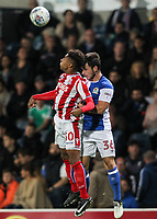 Blackburn Rovers' Jack Doyle competing in the air with Stoke City U23s' Tre Pemberton <br /> <br /> Photographer Andrew Kearns/CameraSport<br /> <br /> The EFL Checkatrade Trophy - Blackburn Rovers v Stoke City U23s - Tuesday 29th August 2017 - Ewood Park - Blackburn<br />  <br /> World Copyright &copy; 2018 CameraSport. All rights reserved. 43 Linden Ave. Countesthorpe. Leicester. England. LE8 5PG - Tel: +44 (0) 116 277 4147 - admin@camerasport.com - www.camerasport.com