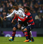 17th March 2018, Craven Cottage, London, England; EFL Championship football, Fulham versus Queens Park Rangers; Massimo Luongo and Darnell Furlong of Queens Park Rangers put pressure on Ryan Sessegnon of Fulham