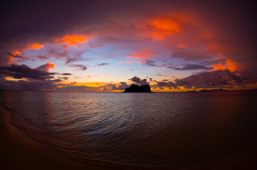Sunset on Vomo Lailai from Vomo Island, Fiji Islands