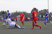 goal, Tor zum 2:1 für Nils Beisser (SKV Büttelborn) gegen Torwart Oguzhan Temur (Michelstadt) - Büttelborn 24.09.2017: SKV Büttelborn vs. VfL Michelstadt