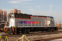 New Jersey Transit locomotive MP20GP number 1004 sits on a siding at the Erie Lackawanna/NJ Transit Hoboken Terminal.  This unit was rebuilt by MotivePower from a EMP GP40FH-2 locomotive.