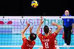 13.09.2019, Paleis 12, BrŸssel / Bruessel<br />Volleyball, Europameisterschaft, Belgien (BEL) vs. …sterreich / Oesterreich (AUT)<br /><br />Zuspiel Stijn D'hulst (#4 BEL), Arno van de Velde (#8 BEL)<br /><br />  Foto © nordphoto / Kurth