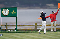 Martin Kaymer (GER) on the 18th tee during the 3rd round of the US Open Championship, Pebel Beach Golf Links, Monterrey, Calafornia, USA. 15/06/2019.<br /> Picture Fran Caffrey / Golffile.ie<br /> <br /> All photo usage must carry mandatory copyright credit (© Golffile | Fran Caffrey)