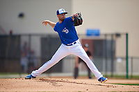 Dunedin Blue Jays starting pitcher Justin Dillon (25) during a Florida State League game against the Clearwater Threshers on April 7, 2019 at Jack Russell Memorial Stadium in Clearwater, Florida.  Dunedin defeated Clearwater 2-1.  (Mike Janes/Four Seam Images)