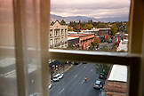 USA, Oregon, Ashland, view of downtown to the South from the 6th floor of the Ashland Springs Hotel
