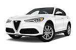 Stock pictures of low aggressive front three quarter view of a 2018 Alfa Romeo Stelvio Ti 5 Door SUV