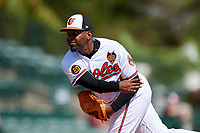 Baltimore Orioles relief pitcher Mychal Givens (60) delivers a pitch during a Grapefruit League Spring Training game against the Tampa Bay Rays on March 1, 2019 at Ed Smith Stadium in Sarasota, Florida.  Rays defeated the Orioles 10-5.  (Mike Janes/Four Seam Images)